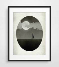 Sailboat+Black+and+White+Art+Print+Whimsical+Art+Modern+by+evesand,+$21.00