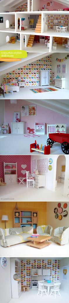a creative dollhouse using photos and artwork scaled down. I am aching to redo the doll house Mom did for me. When Megan gets a little older. Modern Dollhouse, Dollhouse Dolls, Dollhouse Miniatures, Dollhouse Ideas, Miniature Furniture, Doll Furniture, Dollhouse Furniture, Miniature Houses, Miniature Dolls