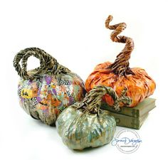 Medium Gold and Teal Paper Mache Pumpkin for by JessicaDvergsten