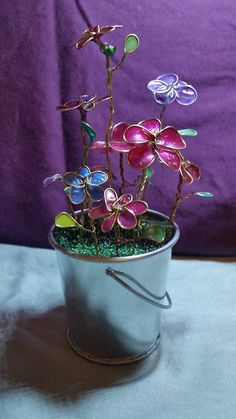 Miniture Flower Pot with Nail Polish Flowers by FreeStyles on Etsy
