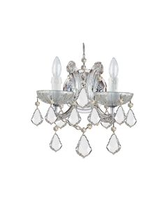 Crystal Wall Sconce in Polished Chrome with Swarovski Elements crystal from the Maria Theresa Collection by Crystorama. Dimensions: 12.50 H 10.50 W 7.00 E