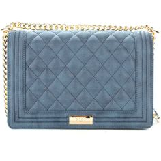 BCBG Paris Matte Quilted Chain Strap Shoulder Bag in Blue ($10) ❤ liked on Polyvore featuring bags, handbags, shoulder bags, blue purse, quilted shoulder bag, quilted chain strap shoulder bag, bcbgmaxazria and quilted shoulder handbags