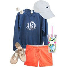 I already have the shorts and white cap....just need a navy crew neck  :-)  OOTD by classically-preppy on Polyvore