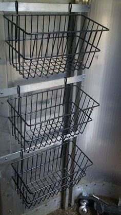 Wire Baskets with hooks, hang anywhere in the barn for neat storage                                                                                                                                                     More
