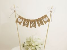 Personalized Cake Topper, Rustic Cake Topper, Wedding Cake Topper, Rustic Wedding Cake Banner,Party Cake Topper, Rustic Monogram Cake Topper by AtelierKAY on Etsy