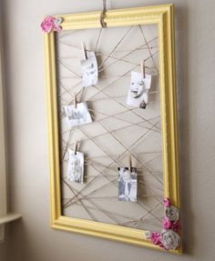 Recycled Frame from painting, String , and Photos... No idea what it says but I like it and have a good idea how to do it