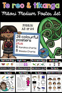 Te reo and tikanga Maori for Maori Medium settings. 26 colourful posters plus 6 Karakia and 8 Waiata. #TeReoandTtikangaMaori