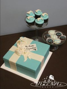 Tiffany & Co baby shower cake, cupcakes and chocolate dipped oreos #Tiffany #babyshower | Blue Note Bakery - Austin, Texas