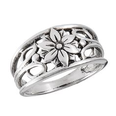 Sterling Silver Flower Filigree Band Ring Sizes: 6, 7, 8, 9