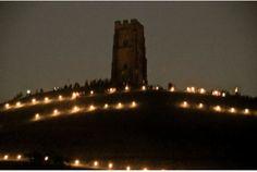 The Glastonbury Tor illuminated