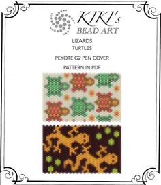 Peyote pen cover patterns- turtles lizards peyote patterns, set of 2 for pen wrap -for G2 pen by Pilot-in PDF instant download Peyote Stitch Patterns, Seed Bead Patterns, Loom Patterns, Beading Patterns, Art Perle, Wrap Pattern, Plastic Canvas Patterns, Loom Beading, Chokers
