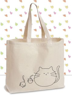 Fat Cats Canvas Tote Bag with Original Ink by GhettoPoodles - #Bag #Canvas #Cats #Fat #GhettoPoodles #Ink #original #Tote