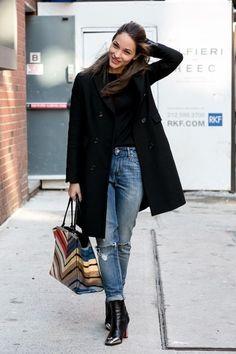 Man-Boss, jeans, black coat, booties