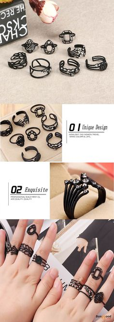 US$11.49+Free shipping. Fashion Rings,  Midi Knuckle Ring Set, Black Rhinestone, Punk, Rock. 8 Pac for just $11.49!!