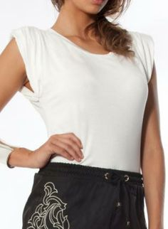 Oasis Tee - White #White #top #Basic #Casual #shoulderpads #ustrendy
