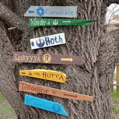 Star Wars Wooden Directional Sign 7 Pack  Made to by CurioObscurio, $115.00