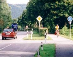 Romantic Road bike route leaving Schongau in Bavaria, Germany. This is part of a 420 km long distance cycle touring route down the heart of Germany.