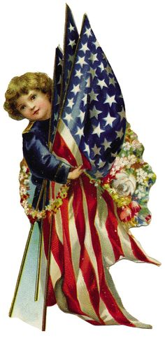 free little girl holding flags