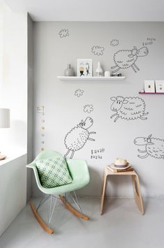 You get: 4 sheep, 5 clouds, and 4 Baa Baah words. The biggest sheep is approximately 60 x Counting Sheep, Design Diy, Interior Design, Wall Decals, Nursery, Sticker, Range, Home Decor, Happy Children