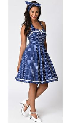 For dot driven dames! A inspired rockabilly frock in a sturdy cotton blend with a dash of stretch, complete in a retro navy and white polka dot throughout. Chic halter ties support a padded surplice sweetheart bodice with a charming piped Peter Pan co Rockabilly Fashion, 1950s Fashion, Vintage Fashion, Rockabilly Dresses, Women's Fashion, Best Leather Jackets, Conservative Fashion, Over 60 Fashion, Pinup Couture