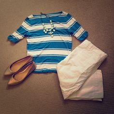 Ann Taylor Sailor Stripe Tee This striped tee from Ann Taylor adds a bit of the French Riviera to your everyday life. Boatneck with half sleeves in soft cotton. Some light wear but overall good condition. Bundle with the cropped white pants for a chic new outfit for spring or summer! Ann Taylor Tops