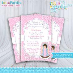 Invitaciones Primera comunión niña bautizo virgen guadalupe 4x6 rosa confirmación elegante imprimibles