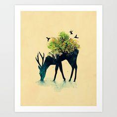 Deer, Surreal, Environmental, drinking water...