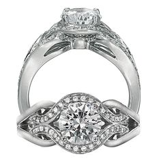 Modern diamond engagement ring featuring a prong set round cut diamond centerstone surrounded by an intricate woven pavé encrusted and solid metal shank.