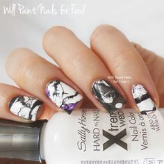 The Digit-al Dozen Does Black & White: Disrupted Water Marble - Will Paint Nails for Food
