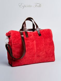 TOTE BAG $130.- leather suede in red, collection available at espiritufolkstore.com
