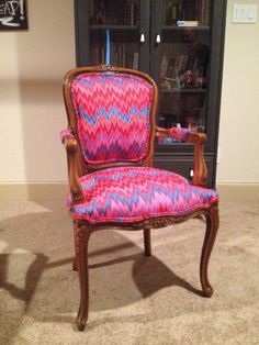 My daughter's desk chair. I love it! Kaffe Fassett Flame Stripe fabric in upholstery weight. Just gorgeous. Even more radiant in real life. :)