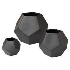 Faceted Vase-Matte Black