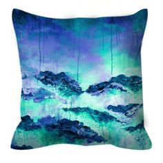 ROSE COLORED LIFE 6 Blue Aqua Floral Abstract 18 x 18 Decorative Velveteen Throw Pillow Waves Flowers Fine Art Painting Trend Home Decor by EbiEmporium, Turquoise Garden Drip Effect Brushstrokes Whimsical Colorful Coastal Landscape Contemporary Living Room Bedroom Bedding #throwpillow #throwcushion #pillowcover #cushioncover #decorative #bedroom #bedding #teen #coastal #decoration #dorm #floral #flowers #abstractart #painting #EbiEmporium #aqua #blue