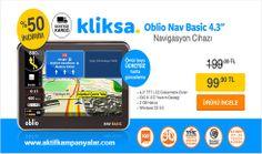 Kliksa'da Oblio Nav Basic Navigasyon Cihazı % 50 İndirim ile Sadece 99.90 TL!!!