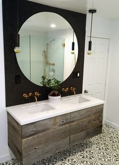 Option to paint dark color behind mirror Design Styles- Modern Industrial style bathroom-Matte Black penny round tiles Diy Bathroom Decor, Bathroom Renos, Bathroom Design Small, Bathroom Styling, Bathroom Interior, Master Bathroom, Bathroom Ideas, Bathroom Designs, Bathroom Mirrors