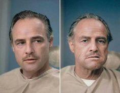 Marlon Brando before and after getting his make up done to be Don Vito Corleone in The Godfather, 1972 : OldSchoolCool The Godfather 1972, Godfather Movie, Godfather Tattoo, Classic Hollywood, Old Hollywood, Hollywood Pictures, Celebridades Fashion, Don Corleone, Corleone Family