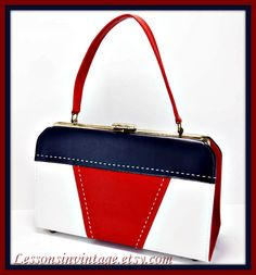 Vintage Red, White, and Blue Vinyl Handbag by LessonsInVintage on Etsy
