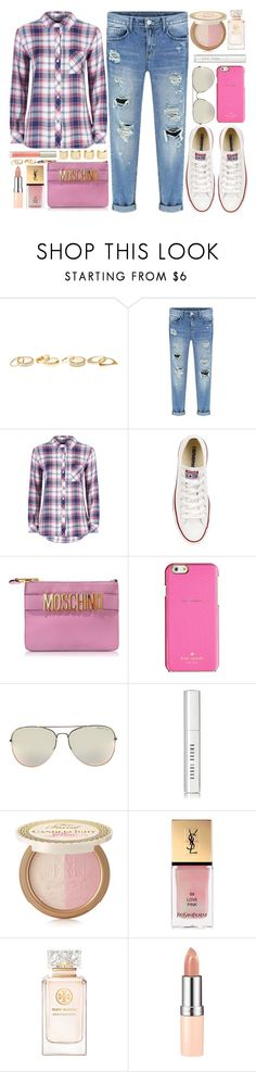 """""""Untitled #3542"""" by monmondefou ❤ liked on Polyvore featuring Charlotte Russe, Rails, Converse, Moschino, Kate Spade, Bobbi Brown Cosmetics, Too Faced Cosmetics, Yves Saint Laurent, Tory Burch and Luv Aj"""