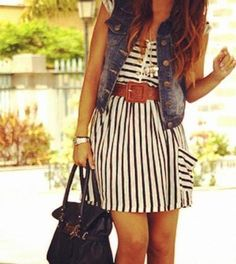 striped dress and jean vest