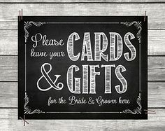 Cards and Gifts Table Chalkboard Sign - Wedding Decor Reception Receiving Guest Table Print - Instant Download Chalk Board DIY for Printing