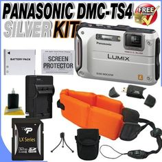 Panasonic Lumix TS4 12.1 TOUGH Waterproof Digital Camera with 4.6x Optical Zoom (Silver) + 32GB SDHC Secure Digital Memory Card + External AC/DC Rapid Travel Quick-Charger + Floating Camera Strap + Extended Life BCF10 Battery + Deluxe Case w/Strap + USB Card Reader + Accessory Saver Bundle! by BVI. $313.69. This Kit Includes:  1- Panasonic Lumix DMC-TS4 12.1 MP Waterproof Digital Camera (Silver) Brand New w/Supplied Manufacturer Accessories 1- 32GB SDHC Secure Digital Memory C...