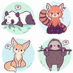 Giant panda, red panda, fennec fox, and sloth. Cute Kawaii Animals, Cute Animal Drawings Kawaii, Kawaii Art, Cartoon Drawings, Cute Drawings, Chibi, Animal Doodles, Anime Animals, Cute Doodles