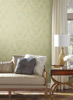 Framed Ombre Damask Wallpaper in Beige and Green design by York Wallcoverings