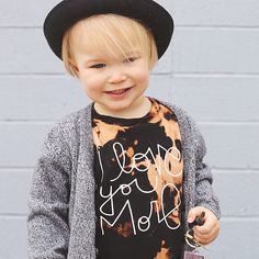 I love you more acid wash distressed baby clothes / baby boy / baby girl / toddler / kids fashion / fall / hat / hipster kids