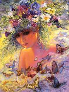 "Flora by Josephine Wall  Wherever Flora, the Roman goddess of flowers, goes, blossoms burst open in a profusion of colourful petals. Her quiet radiance attracts the butterflies while fairies peep through the array of ""Flora"" that frame her gentle beauty."