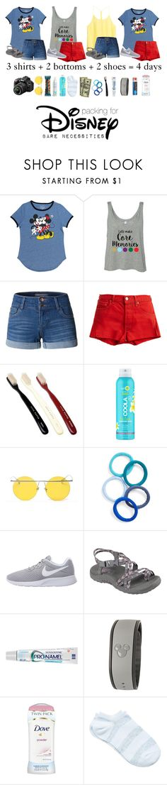 """""""Packing for Disney: The Bare Necessities   Suitcase and a Dream"""" by atlanticwaves ❤ liked on Polyvore featuring Disney, H&M, LE3NO, RE/DONE, COOLA Suncare, LMNT, Nikon, The Honest Company, L. Erickson and NIKE"""