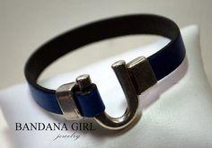 Horseshoe Flat Leather Bracelet by BandanaGirlJewelry on Etsy, $20.00