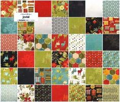 Moda Charm Pack Squares Quilt Fabric Jovial cotton quilting fabrics Christmas