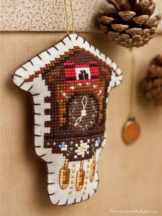 This is an adorable cross stitch clock pattern.