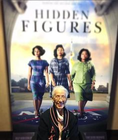 Simply amazing! Pioneering NASA mathematician, Katherine Johnson, pictured in front of the movie poster for the film that will tell the story of her incredible contributions to the space program. ❤️ The film, which will also depict Mary Jackson and Dorothy Vaughan's contributions to one of NASA's first successful space missions, is now set to have a limited release on Christmas Day and hit theaters nationwide on January 6, 2017.  #becauseofthemwecan #blackgirlmagic #STEM